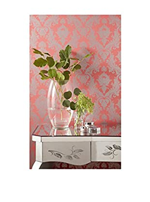 Tempaper Damask Removable Wallpaper, Silver/Coral