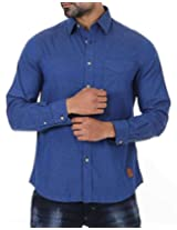 London Fog Men's Casual Shirt (8907174046983_Blue_Large)