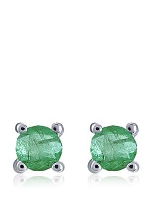 Divas Diamond Pendientes Esmeralda Plata