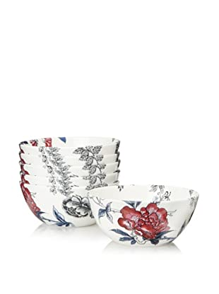 Elinno Set of 6 Rose Garden Bowls, White/Multi, 5