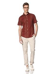 Vanishing Elephant Men's Oversized Short Sleeve Shirt (Maroon/Khaki Pattern)