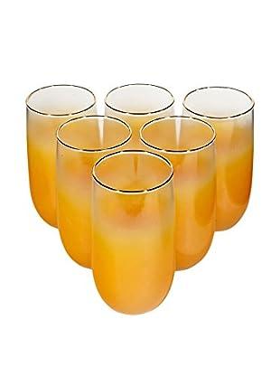 1960s Set of 6 Orange Tumblers, Orange
