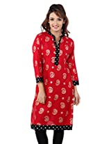 TeeMoods Women Casual Cotton Printed Kurti_TM-1566PAISLEY-RED-XL