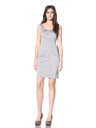 Andrew Marc Collection Women's Bustier Dress with Exposed Zipper (Pale Grey)