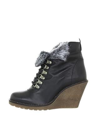 Buffalo London ES 10329 GARDA 123947 - Botines fashion de cuero para mujer (Negro)