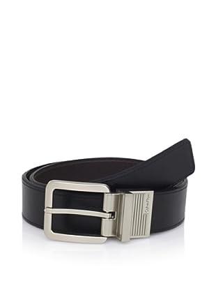 Calvin Klein Men's Reversible Flat Strap Belt (Black/brown)