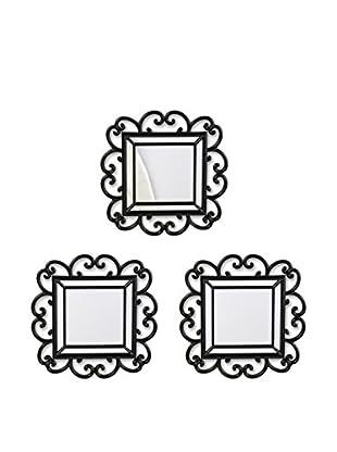 Bombay Company Set of 3 Curl Wall Mirrors, Black