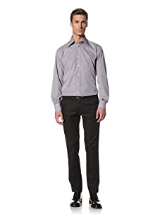 Valentino Men's Dress Shirt (White/Navy/Purple Pattern)