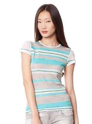 Custo Camiseta (Blanco / Turquesa / Gris)