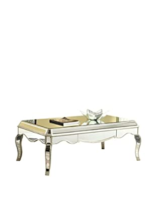 Camille Mirrored Coffee Table, Silver Leaf