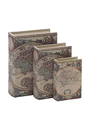 Deco 79 Set of 3 World Map Book Boxes, Multi