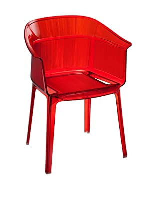 Zuo Set of 4 Allsorts Stacking Outdoor Dining Chairs, Transparent Red