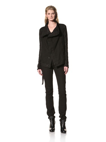 RICK OWENS Women's Contrast Denim Jacket (Triple Black)