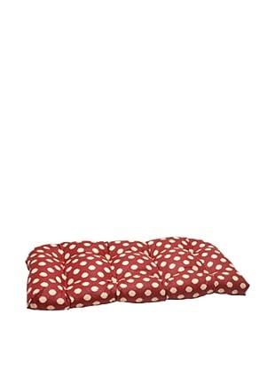 Waverly Sun-n-Shade Solar Spot Henna Wicker Loveseat Cushion (Red/Tan)