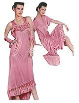 Indiatrendzs Women's Sexy Hot Nighty Pink 2pc Set Bedroom Nightwear