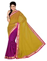 Saree Swarg Saree (Rani Pink Yellow)