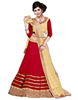 Vibes Women's 60gm Georgette Unstiched Party Wear Lehenga Choli (L13-25007_Red)