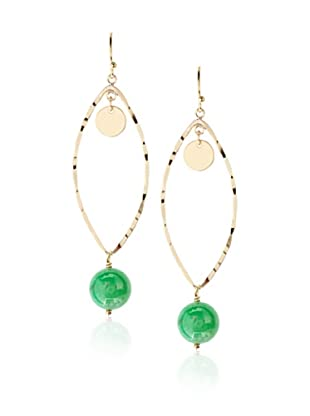 Heather Hawkins Hammered Chrysoprase Marquis Earrings