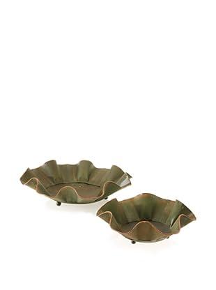 Set of 2 Metal Fluted Bowls