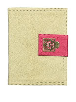 Marina Vaptzarov Medium Soft Vegetal Leather Cover Travel Diary with Brass Detail, Grey/Pink