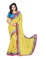 Zoom Beautiful Yellow Self Pattern with Heavy Embroidered work Saree