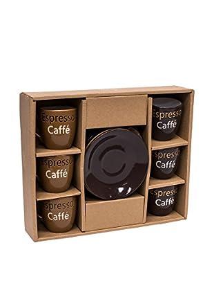 Home Ideas Set Taza De Cafécon Plato 6 Uds. Expresso Marrón/Chocolate