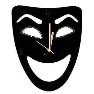 Zeeshaan Black Mask Black Abstract Wall Clock