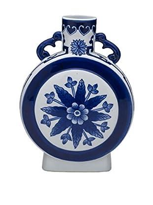 Bombay Company Ceramic Round Vase, Blue/White