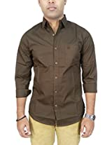 AA' Southbay Men's Choco 100% Cotton Poplin Long Sleeve Solid Casual Shirt