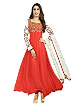 Rozdeal Women Georgette Embroidered Unstitched Long Sleeve Red Anarkali Suit
