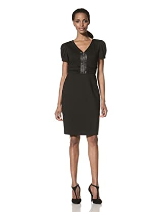Nue by Shani Women's Short Sleeve Dress with Faux Leather Trim (Black)