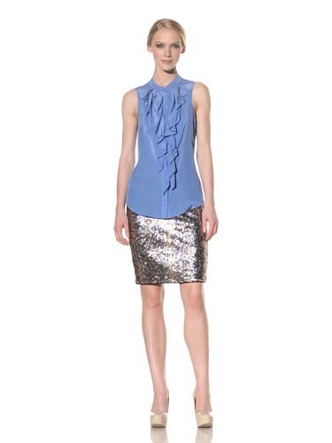 Rachel Roy Women's Silk Crepe de Chine Ruffle Tank (Matisse Blue)
