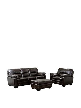 Abbyson Living Lalia Italian Leather 3-Piece Sofa, Armchair & Ottoman Set, Dark Truffle