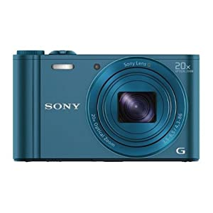 Sony Cyber-shot DSC-WX300/LCE32 18.2MP Point and Shoot Camera (Blue) with 20x Optical Zoom, 4GB Card and Camera Case