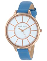 Anne Klein Women's AK/1500RGLB Slim Rose Gold-Tone Watch with Light Blue Leather Band