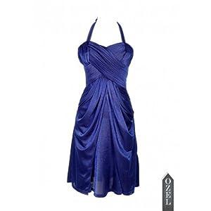 Ozel Studio Pleated Halter Dress-Blue