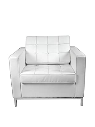 Manhattan Living Leather Button Armchair, White