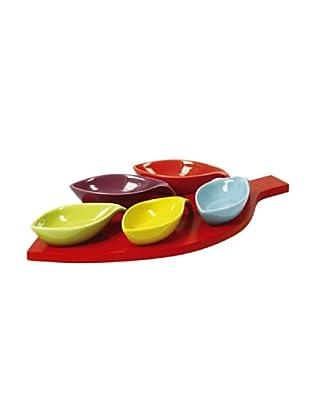 Delys-by-Crealys Set de 5 mini cuencos color con bandeja de madera