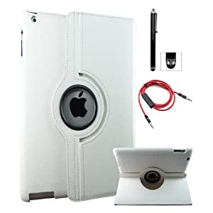 DMG Full 360 Degree Rotating Leather Cover Smart Case for Apple iPad 2/3/4 with Aux Cable with Mic, Stylus, DMG Wristband (White)