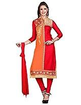 Khushali Presents Embroidered Glaze Cotton Dress Material(Red,Orange)