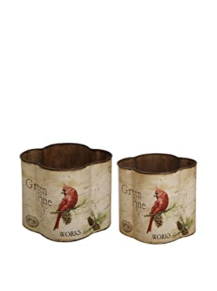 Winward Set of 2 Cardinal Holiday Planters