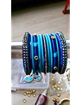 Silk thread bangles with stone lace