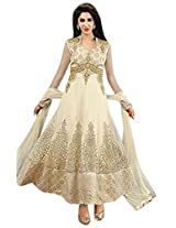 Beige Georgette Top With Santoon Bottom & Chiffon Dupatta Zari Embroidery & Hand Work Anarkali Salwar Kameez Suit