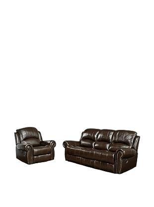 Abbyson Living Hogan Reclining Italian Leather Sofa & Chair, Burgundy