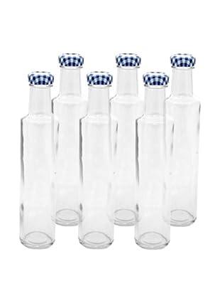 Kilner Set of 6 Blue/White Round Twist Top .25L/8.4 fl oz. Dressing Bottles