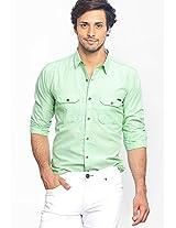 Solid Green Casual Shirt Basics