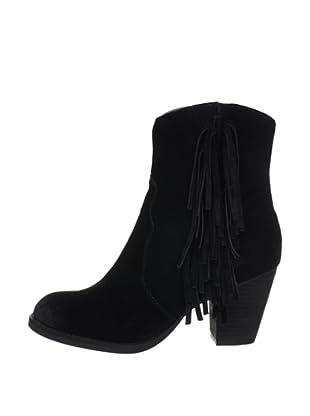Buffalo London 412-0890 COW SUEDE 138823 - Botines fashion de cuero para mujer (Negro)
