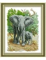 DMC Embroidery Cross Stitch Kit Precise Printed Handmade Needlework Animal Elephant Patterns Cross-Stitching(Not Included Frame)