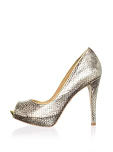 Badgley Mischka Women's Willoe Peep-Toe Pump (Gold Metallic)