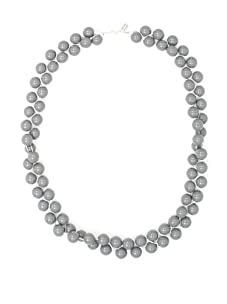 Tuleste Market Long Braided Marble Necklace, Silver/Grey